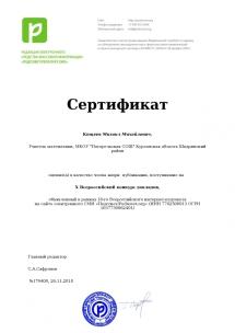 Член жюри Всероссийского конкурса докладов в сетевом сообществе Педсовет