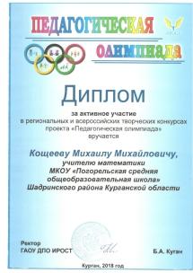 Диплом за активное участие в Педагогической олимпиаде