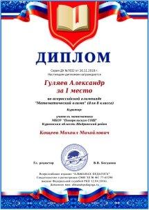Гуляев Александр  победитель Всероссийской олимпиады Математический олимп