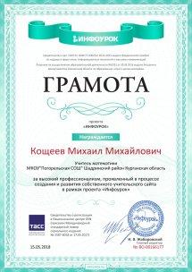 Свидетельство проекта infourok.ru №166177 (2)